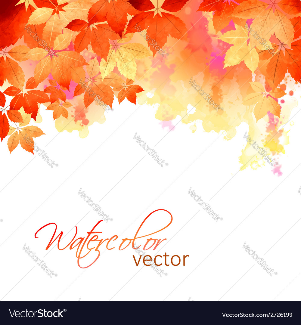 Autumn watercolor fall leaves vector | Price: 1 Credit (USD $1)