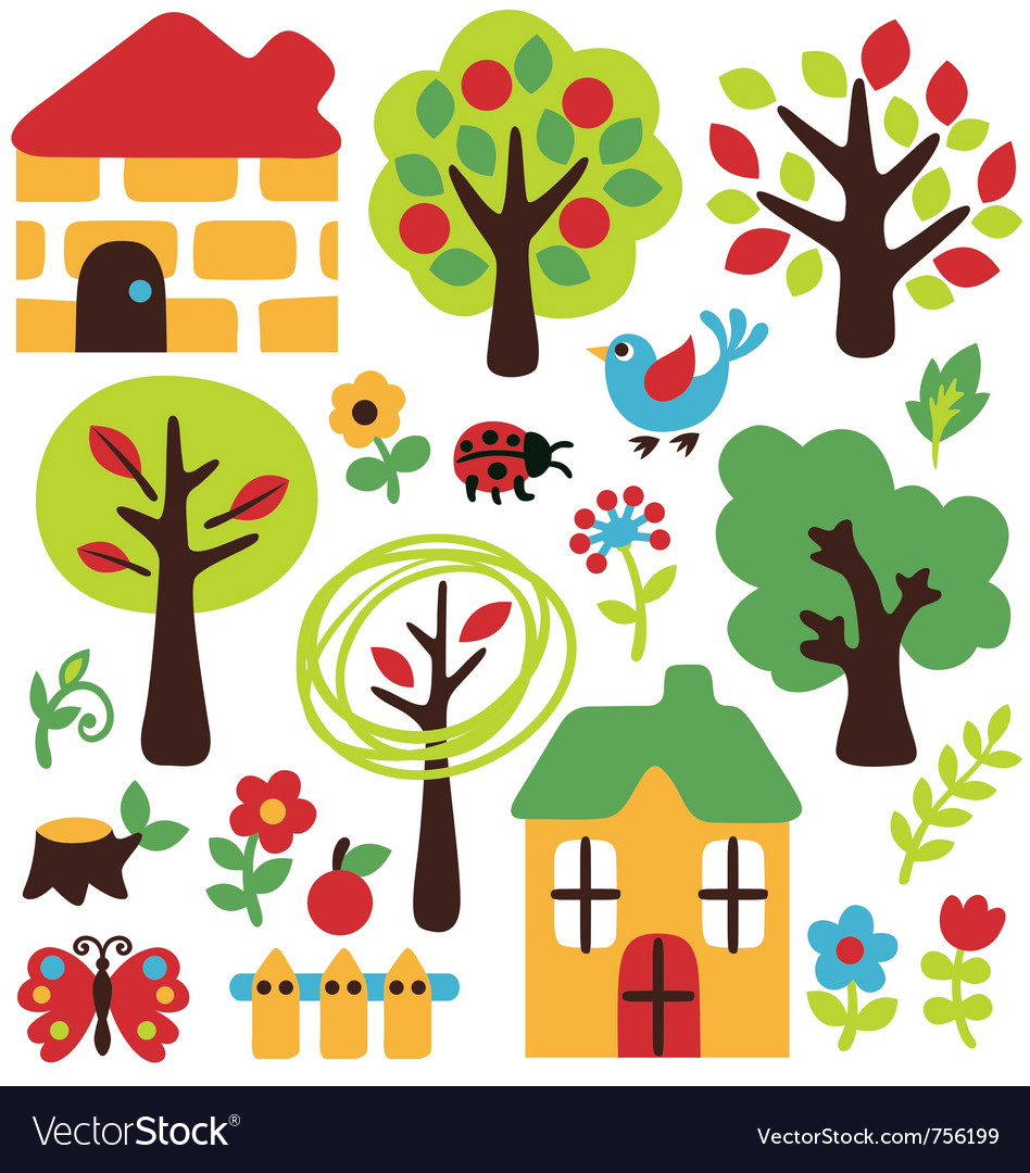 Cartoon garden and animal icon vector | Price: 1 Credit (USD $1)