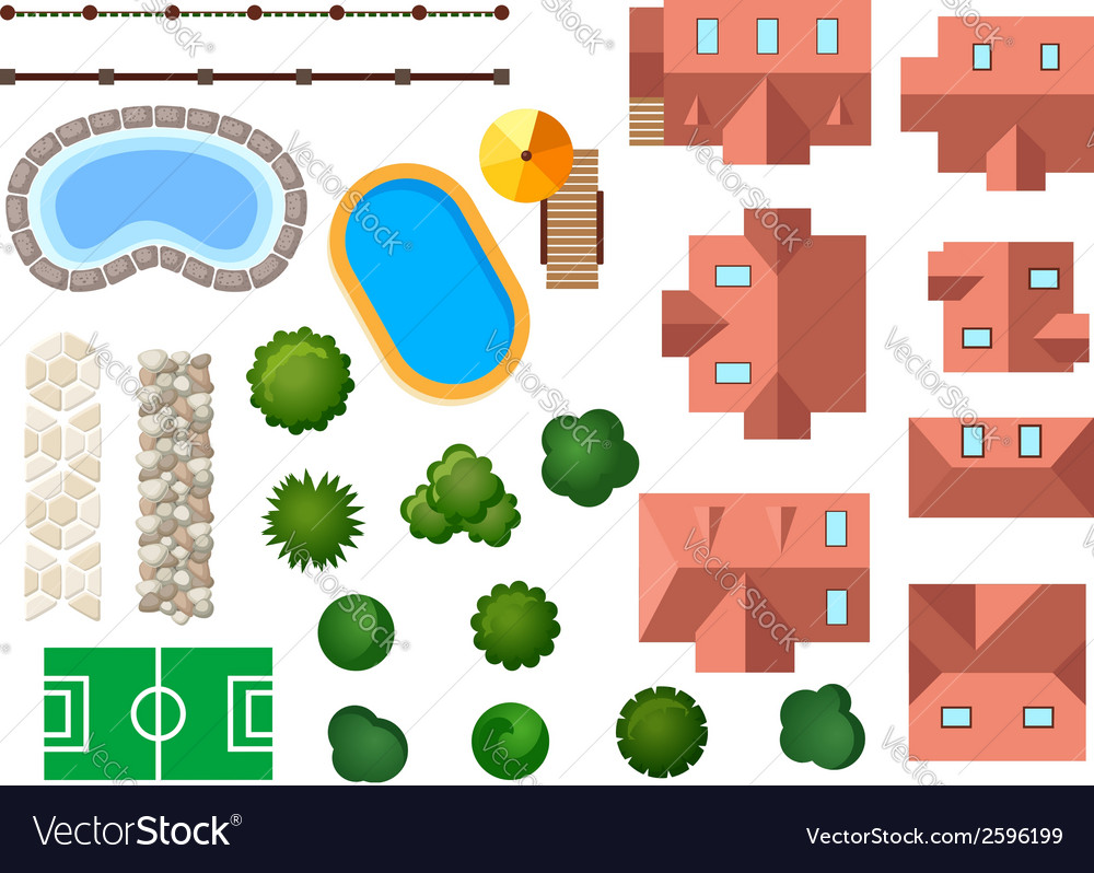 Landscape garden and architectural elements vector | Price: 1 Credit (USD $1)