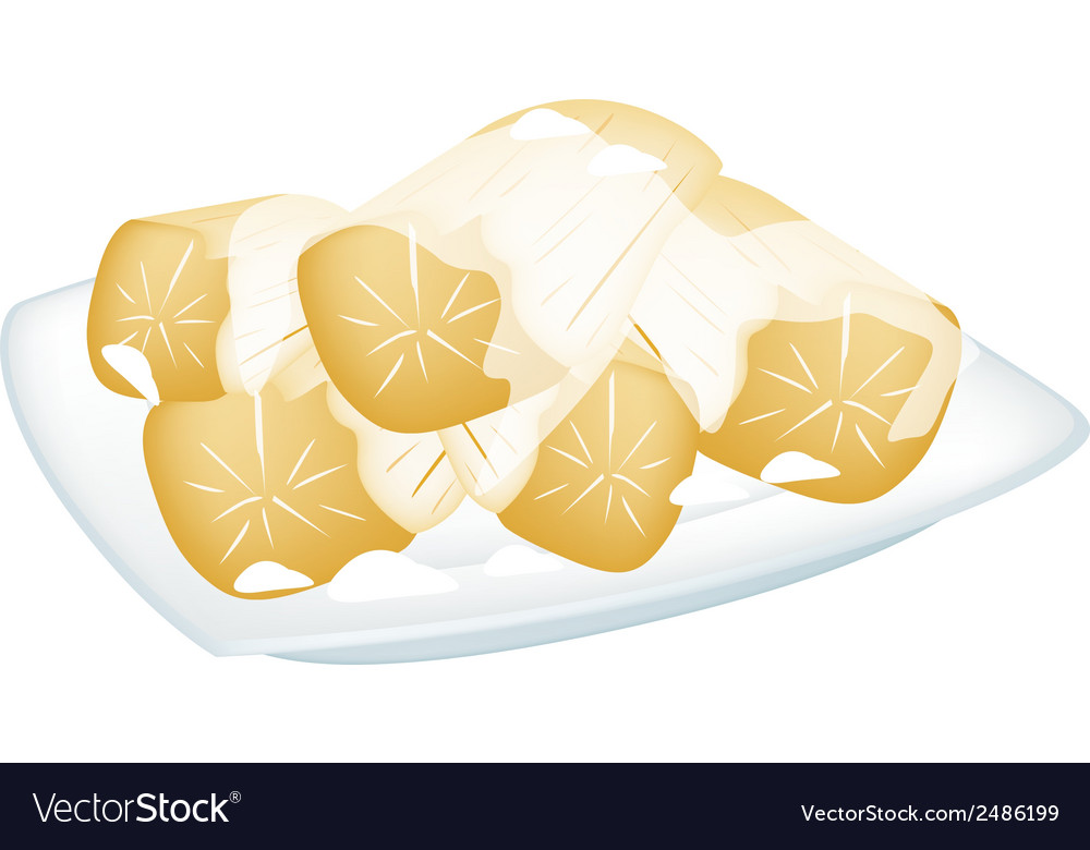 Potato in coconut milk on white background vector | Price: 1 Credit (USD $1)