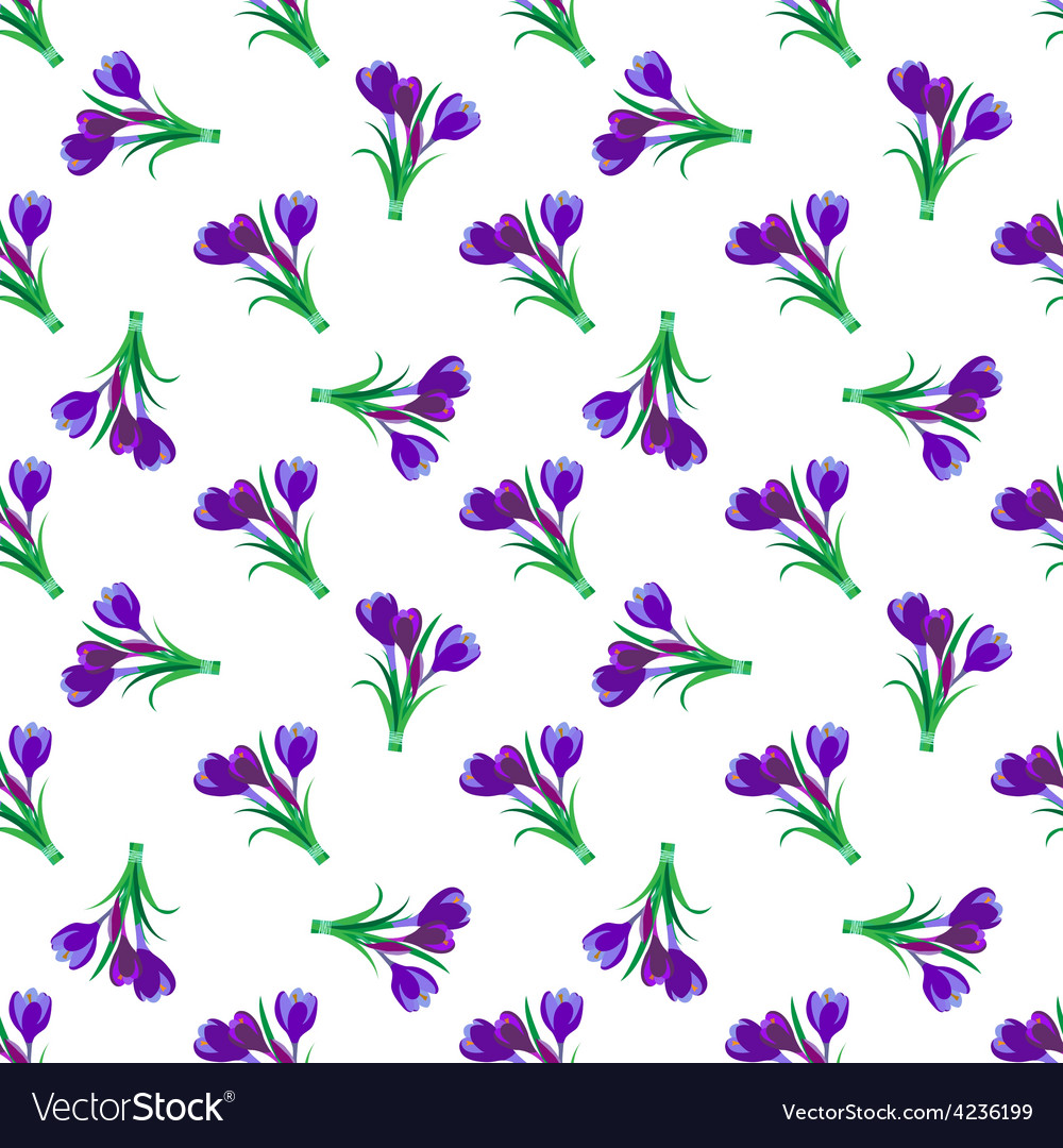 Seamless spring pattern crocus vector | Price: 1 Credit (USD $1)