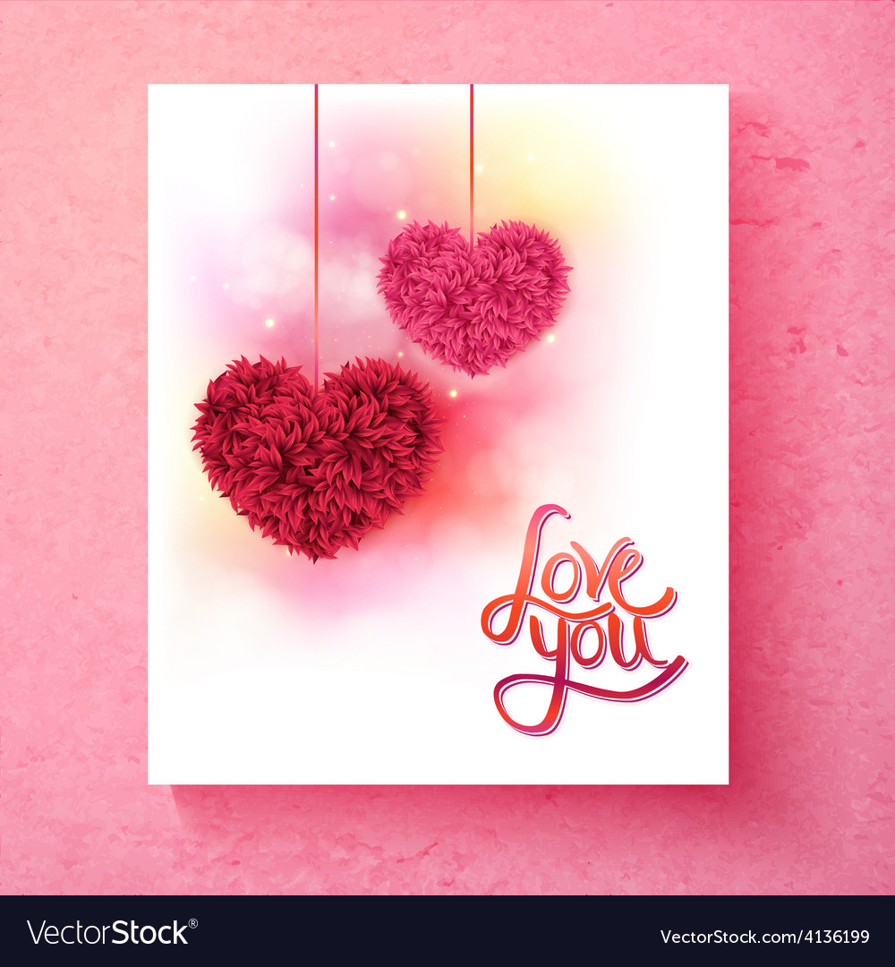 Two romantic floral hearts - love you vector | Price: 1 Credit (USD $1)