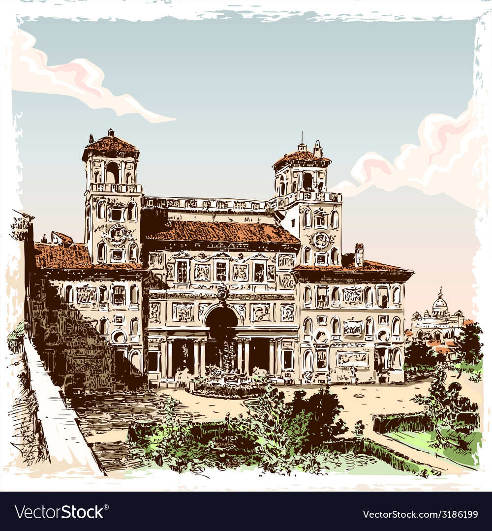Vintage hand drawn view of villa borghese in rome vector | Price: 3 Credit (USD $3)