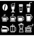 White coffee drinks icons vector