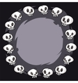 Cartoon skulls round frame vector