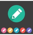 Flat pencil icon colorful icon vector