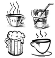 Drink icons hand drawing set vector