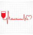 Blood donation concept with heartbeat vector