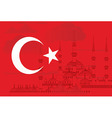 Turkey flag with blue mosque vector