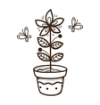 Plant growing in a pot vector