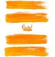 Bright orange acrylic brush strokes vector