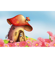 A garden with a mushroom house vector