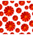 Seamless pattern with red flowers against white vector