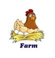Farm emblem with a hen sitting on eggs vector