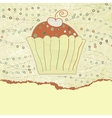 Vintage cupcake birthday card vector