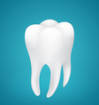 Healthy human tooth on blue background vector