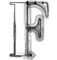 Technical typography letter f vector