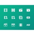 Video icons on green background vector