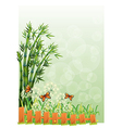A stationery with bamboos and butterflies vector