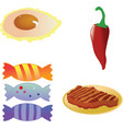 Fried eggred hot chili pepperroast steakcandies on vector
