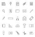 Stationery line icons on white background vector