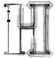 Technical typography letter h vector
