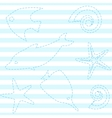 Striped seamless pattern with sea life vector