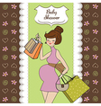 Baby announcement card with beautiful pregnant vector