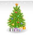Christmas tree with candles and baubles vector