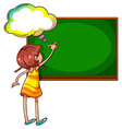 A girl writing at the blackboard vector