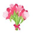 Beautiful bouquet of pink tulips vector