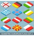Flat isometric european flags set 2 vector