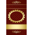 Dark brown elegant card with gold decorations vector