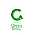 Green letter g and leaf eco technology logo mockup vector