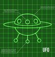 Ufo flying disc indicator on retro display vector