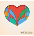 Heart cut out of paper with abstract colored vector
