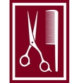 Icon with barber scissors and comb vector
