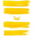 Bright yellow acrylic brush strokes vector