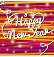 Happy new year handwritten white swirl lettering vector