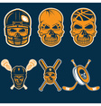 Set of sports team labels with skull vector