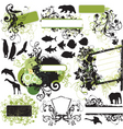 Urban wild floral frame elements vector