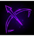 Sagittarius glowing sign on sky vector