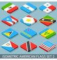 Flat isometric american flags set 2 vector