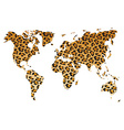 World map in animal print design leopard pattern vector
