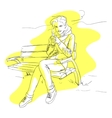 Girl drinking coffee or tea vector