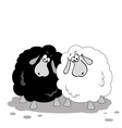 Cartoon sheep black and white vector