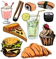 Fast food and drinks colorful collection vector