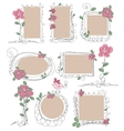 Set of vintage frames with flowers vector