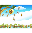 A tree with a beehive and a group of bees vector