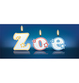 Zoe written with burning candles vector